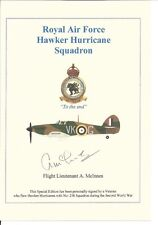 Battle of Britain Hawker Hurricane Pilot signed Yellow A5 Card