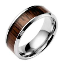 8mm Men's Tungsten Stainless Steel Wedding Band Ring Wood Inlaid Size 6-13