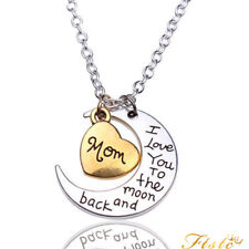 I LOVE YOU TO THE MOON AND BACK HEART NECKLACE SILVER XMAS GIFT FOR HER WIFE MUM