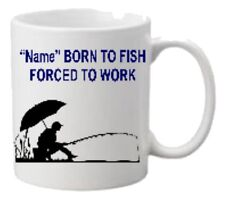 Personalised Born to Fish Mug Coaster Mouse Mat Ideal Gift FREE P&P Set