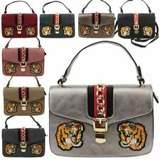 New Chain Buckle Detail Tiger Patch Faux Leather Ladies Fashion Handbag