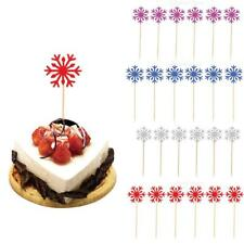 10x Glitter Paper Snowflake Cupcake Food Picks Cake Topper Party Decoration