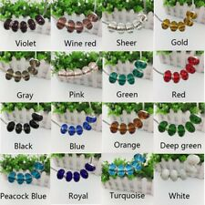 5 Faceted Crystal Glass Beads Big Hole Spacer Murano Lampwork European Bracelet