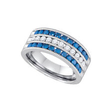 10kt White Gold Womens Round Blue Colored Diamond Striped Band Ring 1.00 Cttw