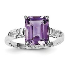 Sterling Silver Rhodium-plated Amethyst & CZ Ring QR670 Size 6 - 8