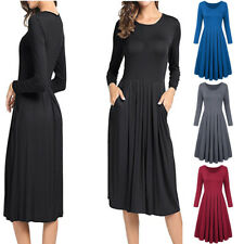 Summer Women Pleated 3/4 Sleeves Pleated Front Pockets Flared Long Maxi Dress
