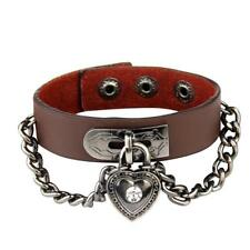 3D Heart Lock Link Chain Bracelet Punk Rock Leather Wristband Gothic Gift