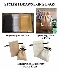Small Drawstring Linen Jute Organza Bag Pouch Xmas Wedding Gift Favour Bags