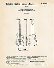 1959 Electric Guitar Fender Poster Patent Art Print Cool Guitar Gifts Presents