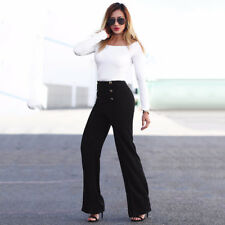 High Waist Womens Strech Wide Leg Pants Flared Trousers Suit Pants