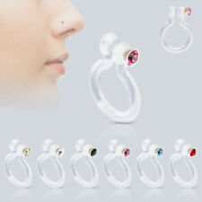 Nose Piercing Fake Ring Plastic with crystal stud piercing