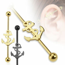 Industrial Piercing Anchor Black Gold Barbell Ear Surgical Steel 10685.2oz