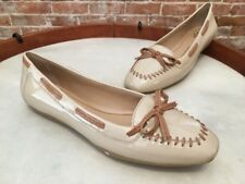 Isaac Mizrahi Logo Light Taupe Patent Leather Moccasin Loafer Ballet Flats NEW