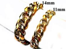 """11mm 14mm 316L Stainless Steel Gold Silver Tone Cuban Curb Chain Bracelet 7""""-10"""""""