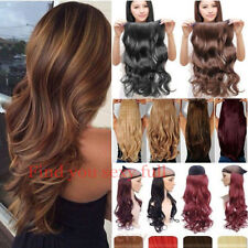 100% Thick One Piece Half Head Clip in Hair Extensions Long Curly Straight FU