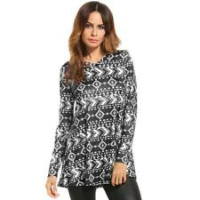 Women Casual V-Neck Long Sleeve Print Loose Fit Blouse Tunic Tops ER99