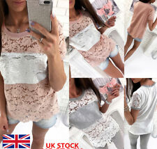 Womens Ladies Lace Sequins Patchwork Hollow Out Short Sleeve Casual Blouse Tops