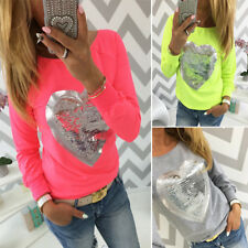 Heart pattern New Fashion Long Sleeve Casual T-Shirt Womens Round neck