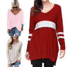 Women V Neck Long Sleeve Knitted Pullover Loose Sweater Jumper Tops Knitwear new