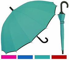 "46"" 16-Panel w/Black Trim, Black Hook Umbrella -RainStoppers Rain/Sun UV Fashion"
