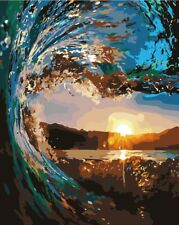 """Paint By Number DIY Acrylic kit Oil Painting Canvas 16X20"""" Sea waves Sunset 2305"""