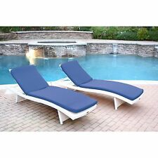 2 Piece Blue Cushion Resin Wicker Chaise Lounge Set Home Outdoors Furniture Pool