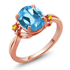 2.76 Ct Oval Swiss Blue Topaz Yellow Sapphire 14K Rose Gold Ring