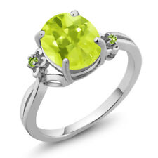 2.04 Ct Oval Yellow Lemon Quartz Green Simulated Peridot 14K White Gold Ring
