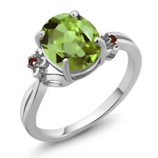 3.04 Ct Oval Green Peridot Red Garnet 14K White Gold Ring