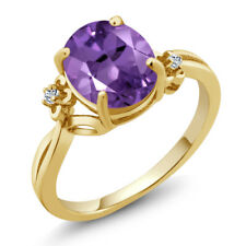 2.24 Ct Oval Purple Amethyst White Topaz 18K Yellow Gold Plated Silver Ring