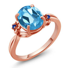 2.74 Ct Oval Swiss Blue Topaz Blue Simulated Sapphire 14K Rose Gold Ring