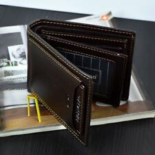 Mens Faux Leather Bifold Wallet Purse Business Credit Card Holder Black/Brown