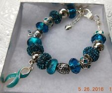 OVARIAN CANCER AWARENESS Gorgeous Crystal Charm Bracelet   FREE SHIPPING!!!