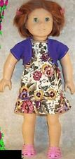 "Doll Clothes Made 2 Fit American Girl 18"" inch SunDress Purple Shrug Pansies"