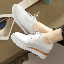 Casual Fashion Womens Wedge Heel Shoes Lace Up Platform Sneakers Oxfords Shoes