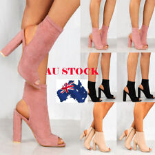 AU Women Block High Heel Sandals Peep Toes Ankle Boots Zipper Up Club Shoes Size