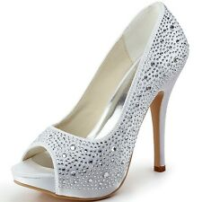EP11066 Peep Toe High Heel Platform Rhinestone Pumps Wedding Dress Shoes US 4-11