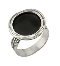 Authentic Women's Ring 925 Sterling Silver Onyx Solitaire Black Color