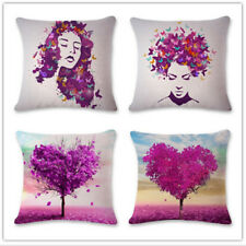 Square Linen Purple Tree Leaves Love Heart Throw Pillow Case Cushion Cover