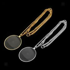 Monocle Magnifying Glass on Necklace Chain Magnifier Pendant 6X Gold Sivler