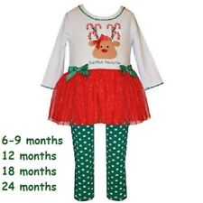 NWT BONNIE JEAN BABY GIRL 2 PIECE SET REINDEER CHRISTMAS OUTFIT 6-9 12 18 24 MON