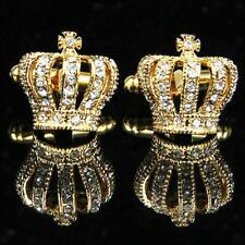 Vintage Silver Gold Crown CuffLinks Brass Cuff Links Crystal Luxury Casual