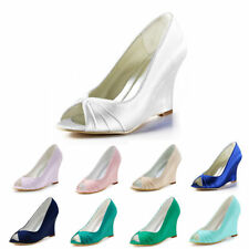 EP2009 Women Peep Toe Wedge High Heels Satin Ruched Evening Party Shoes US 4-11