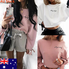 Women Fashion Crop Top Ladies Embroidery Crew Neck Shirt Girl Long Sleeve Blouse