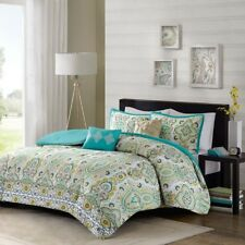 Posh Yellow White & Green Floral Ogee Comforter Set AND Decorative Pillows