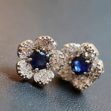 Earrings Full Diamond Exquisite Fashion Flowers Hot Female Blue Crystal Silver