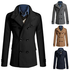 Mens Wool Coat Trench Coat Winter Long Sleeve Jacket Double Breasted Peacoat