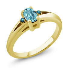 0.78 Ct Oval Blue Zircon Blue Diamond 18K Yellow Gold Plated Silver Ring