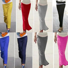 Slim Stylish Lady Long Skirt Casual Package-hip Straight Elastic Waist