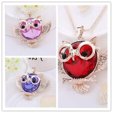 Chain Tide Rhinestone Vintage  Owl  necklace Round shape Pendant Statement